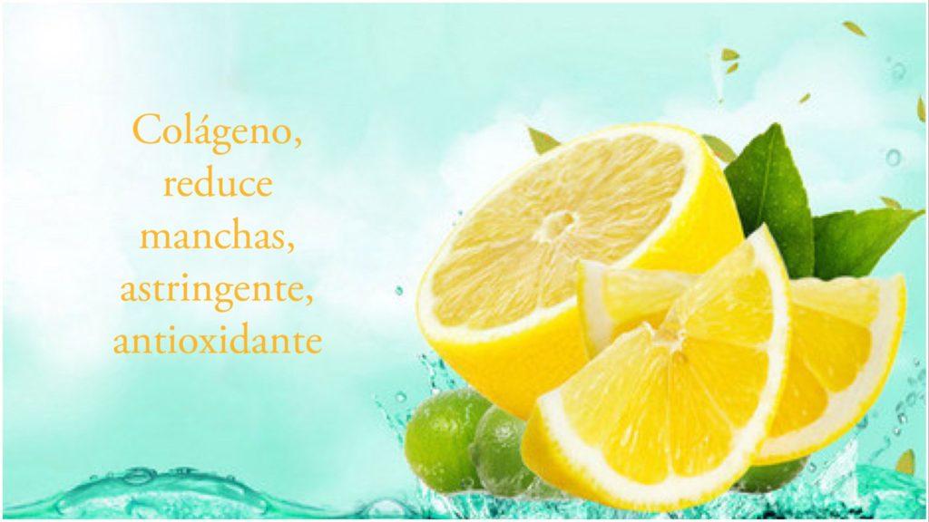Limón: Contiene colágeno. Reduce manchas. Astringente y antioxidante.